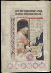 Lord Lovell Presenting The Lectionary To A Canon of Salisbury Cathedral (?), In 'The Lovell Lectionary'